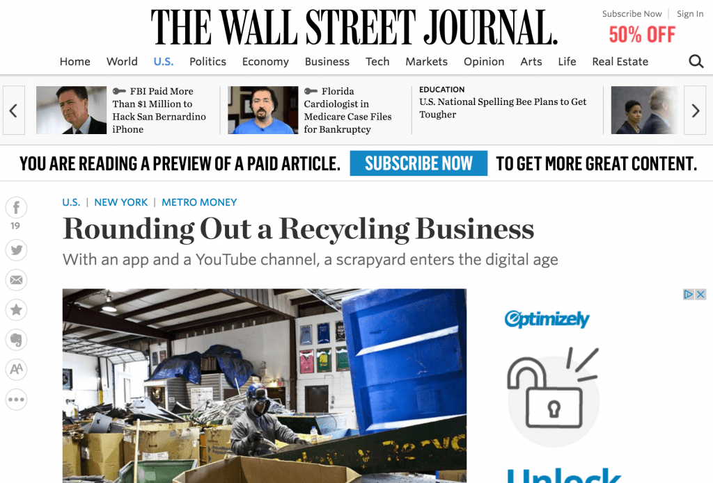 Rockaway Recycling Wall Street Journal